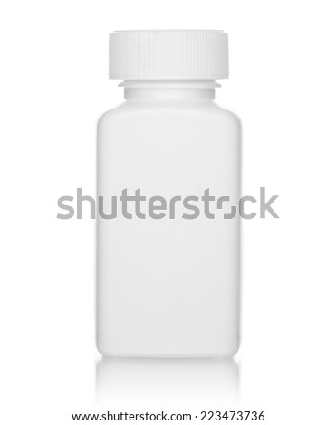 White medical bottle, isolated on white background - stock photo