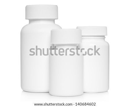 White medical containers on white background   - stock photo