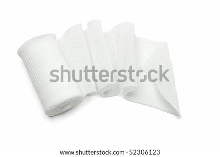 White medical cotton gauze bandage on white background - stock photo