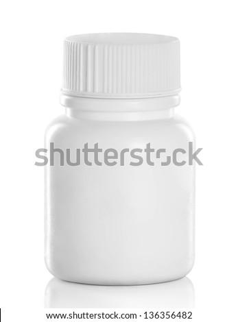 White Medical Drugs Tablets Capsules Plastic Bottle. Isolated over white background - stock photo