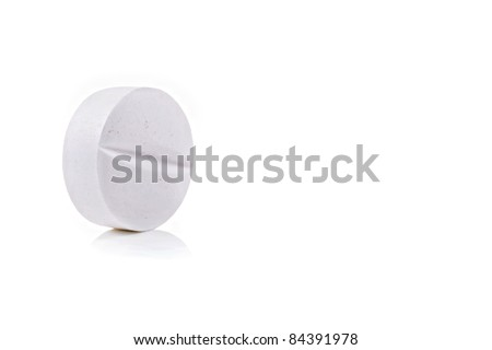 White medical pill on white background - stock photo