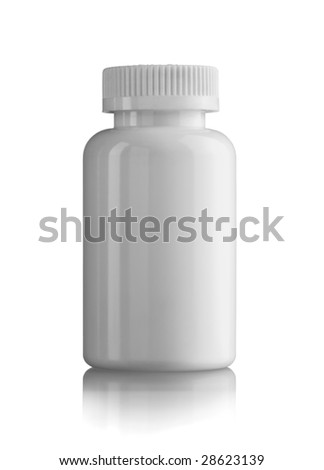 White medicine bottle closed - stock photo