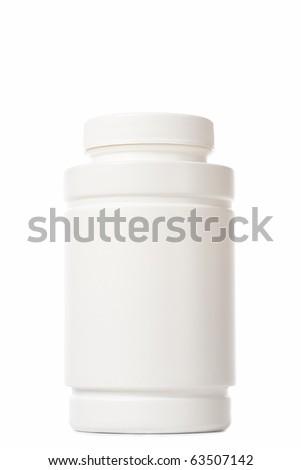 white medicine bottle on white background - stock photo