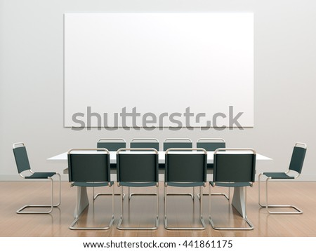 White Meeting Room Office Table Chairs Stock Illustration 441861175 ...