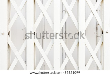 White metal balustrade front of the telephone shop. - stock photo