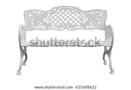 white metal furniture. white metal bench isolate with clipping path is on background furniture f