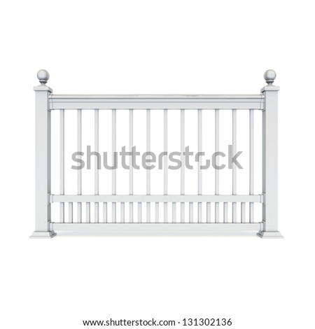 White metal design railing with Sphere - stock photo