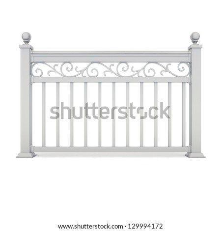 White metal railing with pattern - stock photo