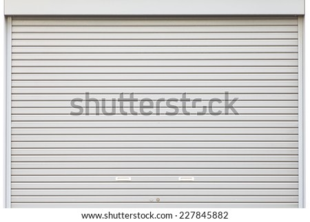 White metal roller door shutter background and texture - stock photo