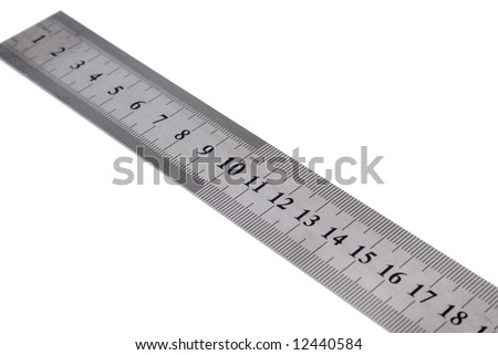 White metal ruler on a white background