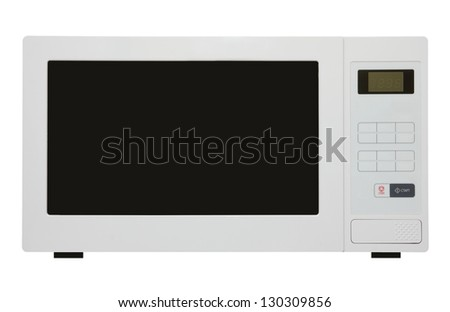 white microwave oven isolated on white - stock photo