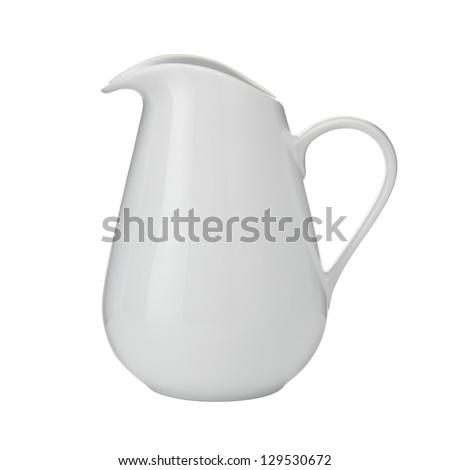 white milk jug with lid isolated on white background, white milk jug - stock photo