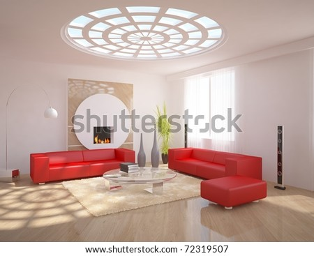 white minimal interior design - stock photo