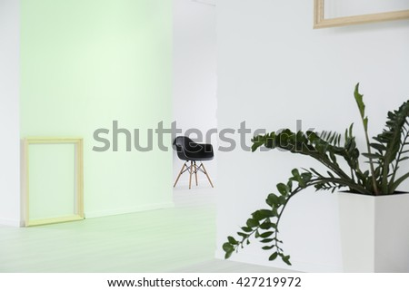 White minimalist interior in modern bright multifunctional space - stock photo