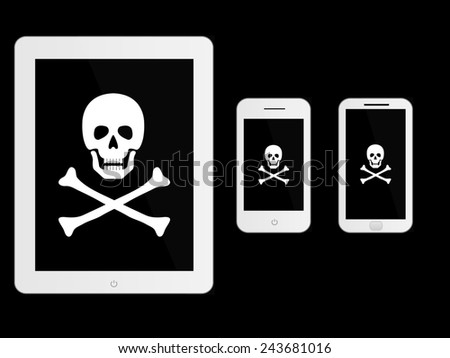 White Mobile Devices with Pirate Sign - stock photo