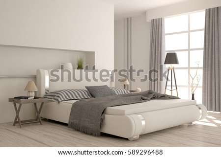 White Modern Bedroom Scandinavian Interior Design Stock Illustration
