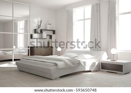 White Modern Bedroom. White Modern Bedroom Scandinavian Interior Design Stock Illustration  593650748 Shutterstock
