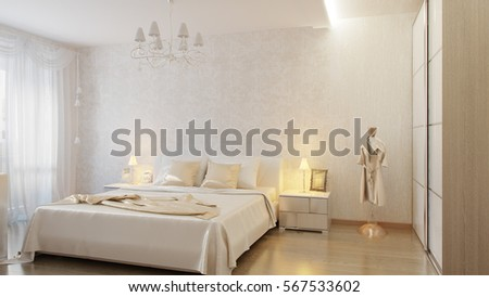 white modern bedroom. White modern bedroom with silk bedding and cushions  3d render Modern Bedroom Silk Bedding Cushions Stock Illustration