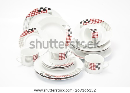 White modern dishes with geometric shapes - stock photo