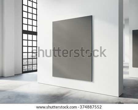 White, modern, empty space, loft style concrete floors and windows, black poster hanging on wall, warm sunlight from outside. 3d render