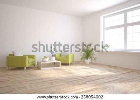 white modern interior-3D rendering - stock photo