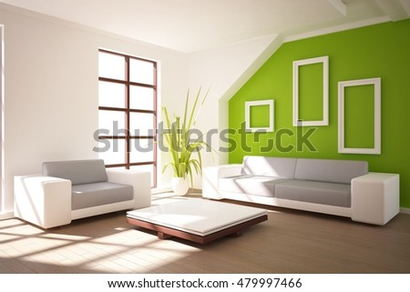 white modern interior design. 3D illustration