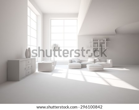 white modern interior design for living room - 3D rendering - stock photo