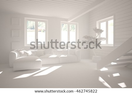 white modern interior design with sofa. 3D illustration