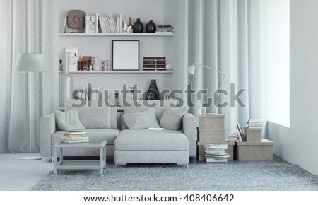 White modern interior with decor. 3d render - stock photo
