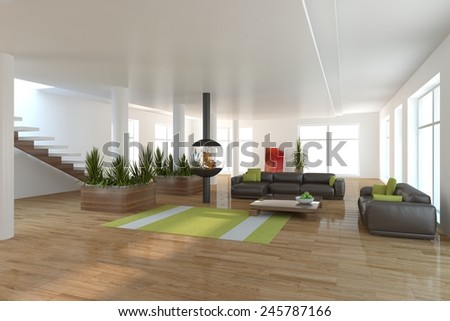 white modern interior with panoramic windows and brown furniture-3D rendering - stock photo