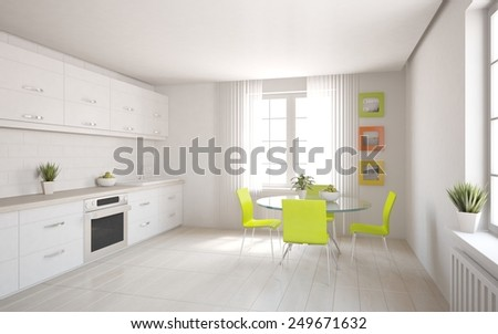 white modern kitchen-3D rendering - stock photo