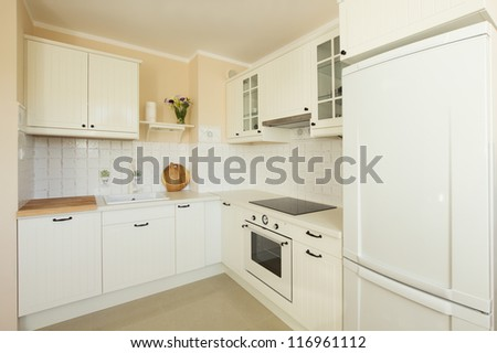 white modern kitchen in antique rustique style - stock photo