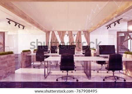 White Modern Open Space Office Interior Stock Illustration 767908495 ...