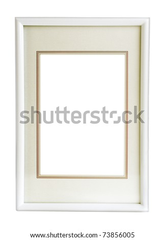 white  modern  photo frame isolated on white background - stock photo