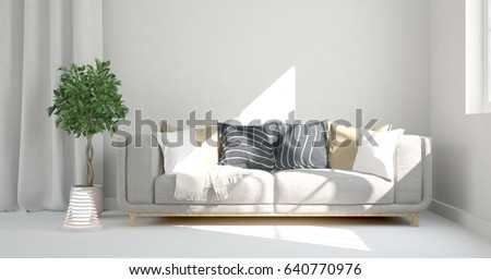 White Modern Room Sofa Scandinavian Interior Stock Illustration ...
