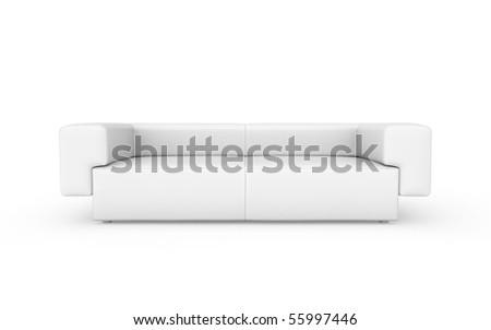 white modern sofa isolated on white - stock photo