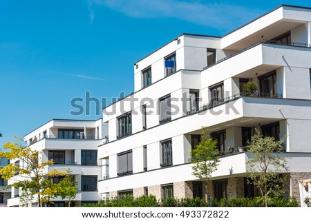 White modern townhouses seen in Berlin,  Germany
