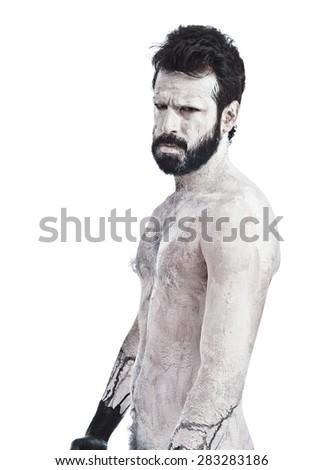 White monster with beard - stock photo
