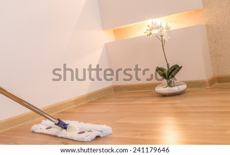 White mop cleaning wooden floor in house with flower and nice interior lighting on background - stock photo