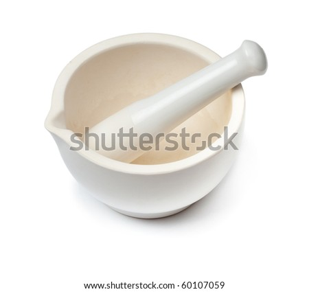 White mortar and pestle. Isolated on white - stock photo