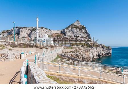 White mosque at Europa Point on Gibraltar - stock photo