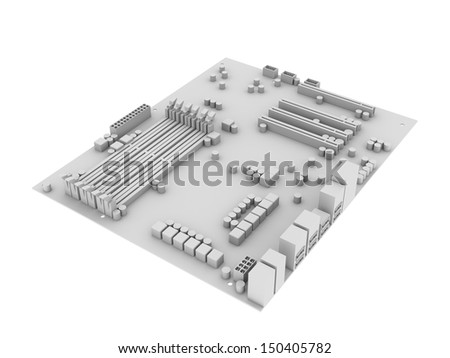 White motherboard. Isolated render on the white background - stock photo