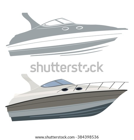 White motorboat with silhouette on white background