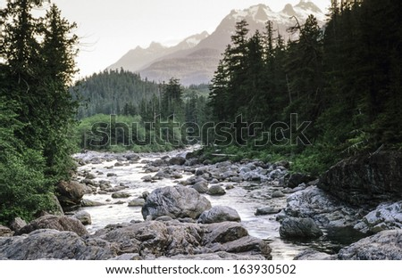 White Mountains, New Hampshire snake river near sunset - stock photo