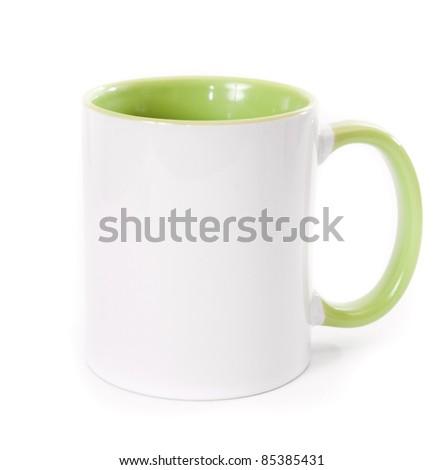white mug isolatd on a white background - stock photo