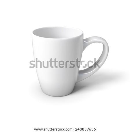 White mug isolated on white background. 3d render image. - stock photo