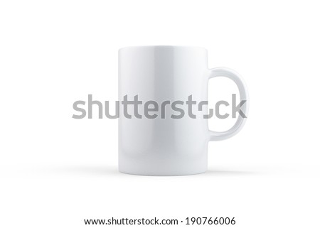 White mug isolated on white with soft shadows - stock photo