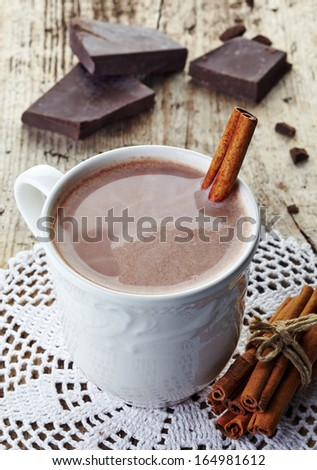 White mug of hot chocolate drink - stock photo