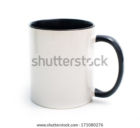 white mug with a black handle and an inner surface isolated on white background - stock photo
