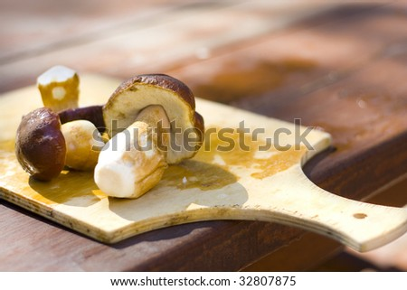 white mushrooms on cutting board - stock photo